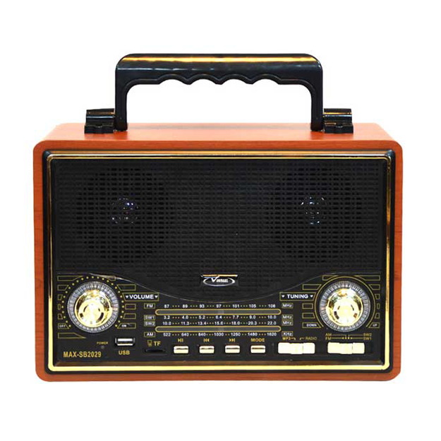 رادیو اسپیکر بلوتوثی قابل حمل Vanmaax مدل MAX-SB2029 طرح قدیم، مشکی