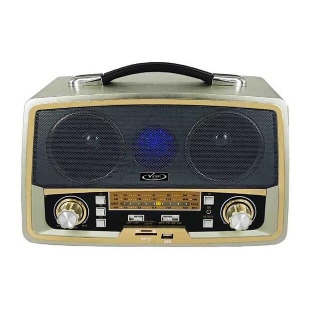 رادیو اسپیکر بلوتوثی قابل حمل Vanmaax مدل SB-2028 طرح قدیم، طلایی