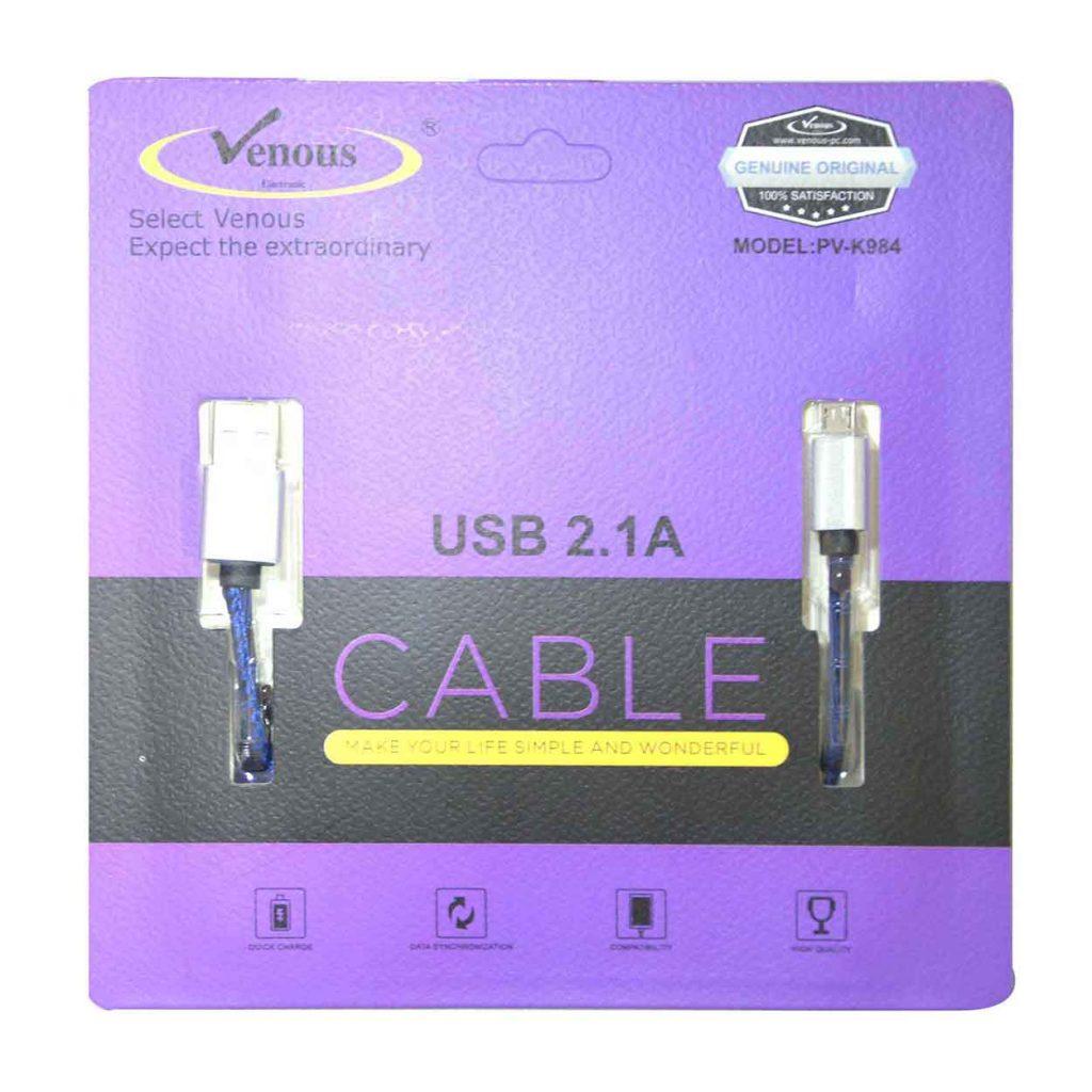 کابل شارژ USB2.1A ونوس طرح پوست مار مدل PV-C984
